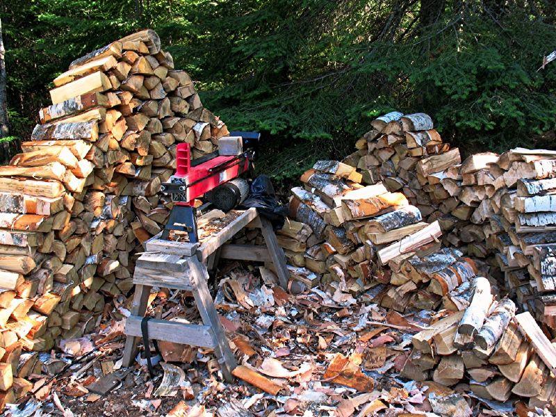 łuparka do drewna w działaniu